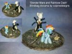 MLP FiM custom diorama: Slender Mare and Rainbow! by vulpinedesigns