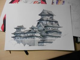 Japanese Palace, with ink and watercolours. by RobertSGrey