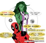 She-Hulk and Deadpool celebrate 100 watchers! by ProjectCornDog