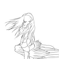 Sad Dragoness Lineart by Princess-Shannen