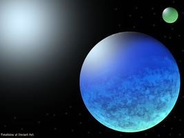 Icy Planet with an Earthy moon by Pokehkins