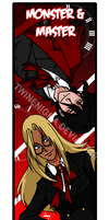 Master and Monster bookmark by TwinEnigma