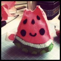Bitten Watermelon Slice Plush by marywinkler
