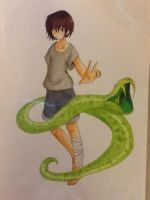 boy with snake (copic version) by oOkikiOo