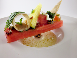 Watermelon - Pineapple, Basil, Creme Fraiche 2 by TheSilverChef