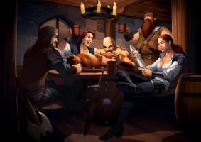 Warriors in the pub by javieralcalde