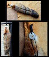 Decorated red fox tail with antler by lupagreenwolf
