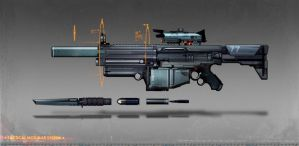 commissioned modual assault rifle concept art by torvenius