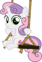 Sweetie Belle on a swing + Speed-Vectoring link by Osipush