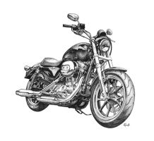 Harley Davidson Superlow ballpoint pen drawing by taucf