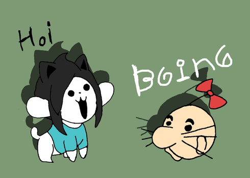 Temmie and Mr.Saturn by that-one-guy-again