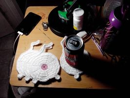 cat butt coasters by Astral-thread