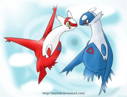 Latios And Latias Flying by Mast88