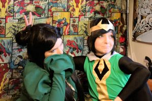 Leah and Kid Loki Cosplsy WIP 2 by MonMonMouse