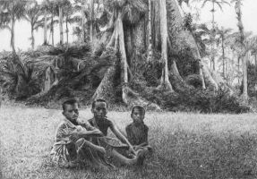 three little boys and one big tree by delph-ambi