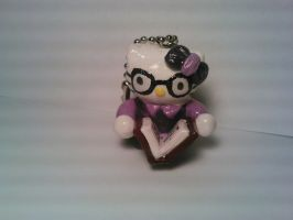 Librarian Hello Kitty Polymer Clay Keychain by ShadyDarkGirl