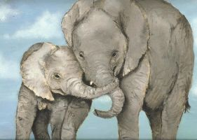 2 elephants by Emski
