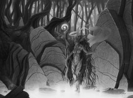 Forest Guardian (grayscale) by StMan