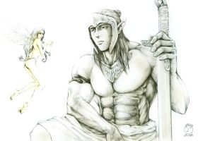 warrior and elf by hermes52
