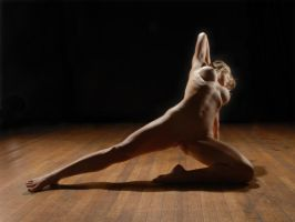 1369-HW Beautiful Nude Woman Stretching on Floor by artonline