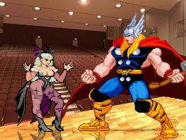 Morrigan and Thor HD for Mugen by anubis55