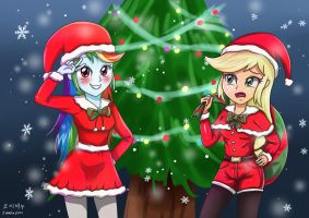 RainbowDash x applejack - Marry Chrismas by sumin6301