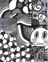 Ink pattern with creepy smiley by BackaInu22