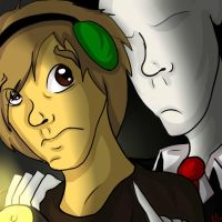 PewDiePie and Slenderman by Blackalphadragon96