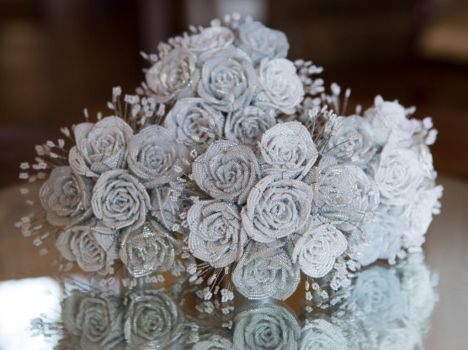 White and Silver Beaded Rose Bridesmaids Bouquets by slightly-caustic