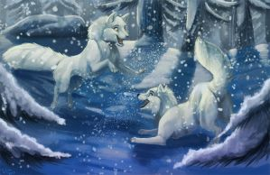 Arctic Foxes Playing in the Snow by Ifus