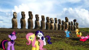 Mane 6 At Easter Island by Macgrubor