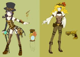 Bebe and Wendy in Steampunk by shiron2611