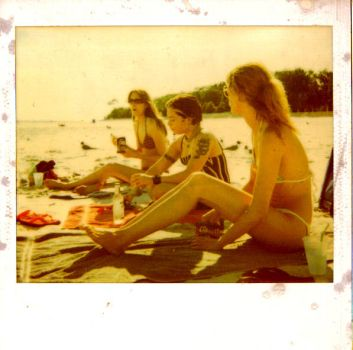 beach with old poloroid by foetuscide
