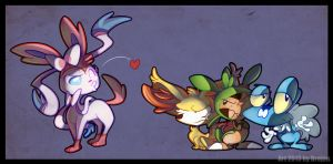 Sylveon, Fennekin, Chespin and Froakie by Drojan