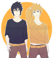 Naruto and Sasuke by Immature-Child02