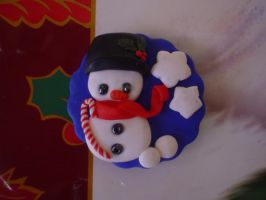 snowman magnet by Libellulina
