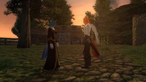 (TES Oblivion) Love in the Sunset on Flamehoof by XxFlamerunnerxX