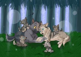 What a Cute WolFamily by AmberJF