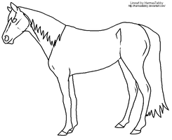 MS Paint Horse lineart by HarmaaTabby