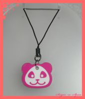 Pink Panda cell phone Charm by White0Khan0Bastet