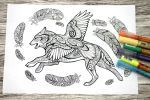 Wolf and raven colouring page by hontor