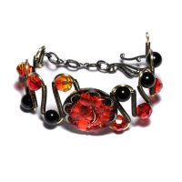 Black Fire Goth Bracelet by CatherinetteRings