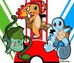 Pokemon Kanto Starters by ObsidianWolf7