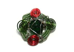 Green, Silver and Red Wire Wrapped Pin by cakhost
