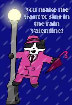 Badger in the Rain Valentine by hotbb123