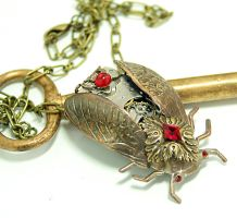 Cicada Steampunk Necklace by byrdldy