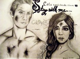 Cato kneels beside Clove by papa-paparazzi