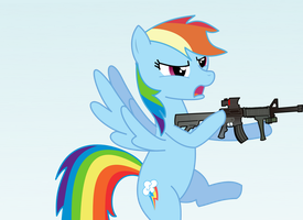 RASTERED Rainbow Dash with M4A1 by wingo265