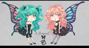 Chibi Miku and Luka - magnet by viliann