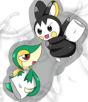 snivy emolga Pillow fight by hoyeechun